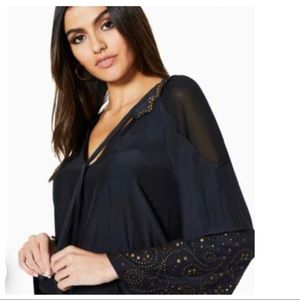 RAMY BROOK Tilly Studded Bell Sleeve Top NWT SMALL